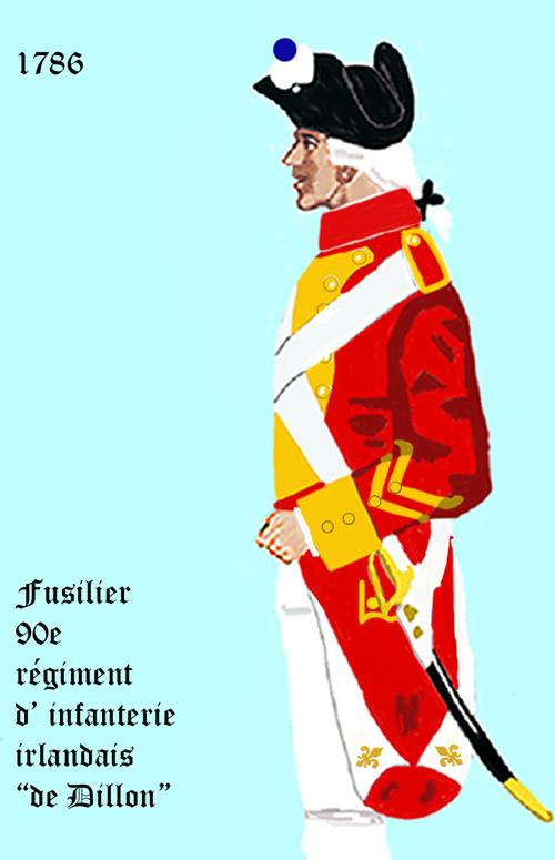 """Uniforme 1786 du 90e Régiment d'infanterie irlandais """"de Dillon"""" - Expédition Particulière • Alliance between France and the USA to win the American War of Independence"""